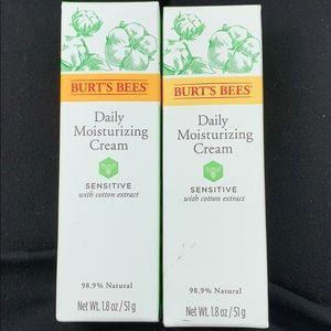 TWO Burts bees sensitive daily moisturizing creams